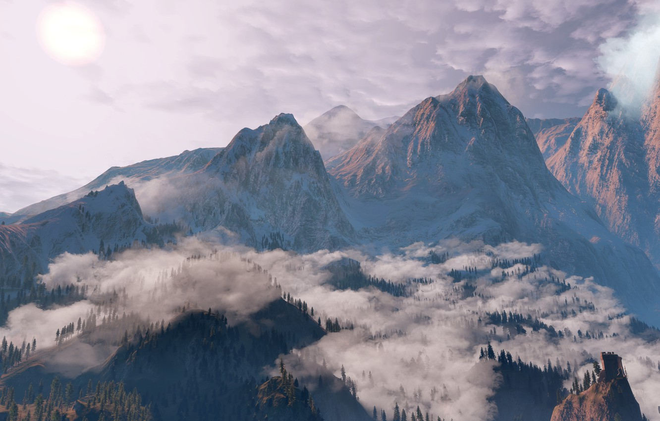 Photo wallpaper Clouds, Mountains, Snow, Forest, The Witcher, The Witcher, The Witcher 3 Wild Hunt, The Witcher …