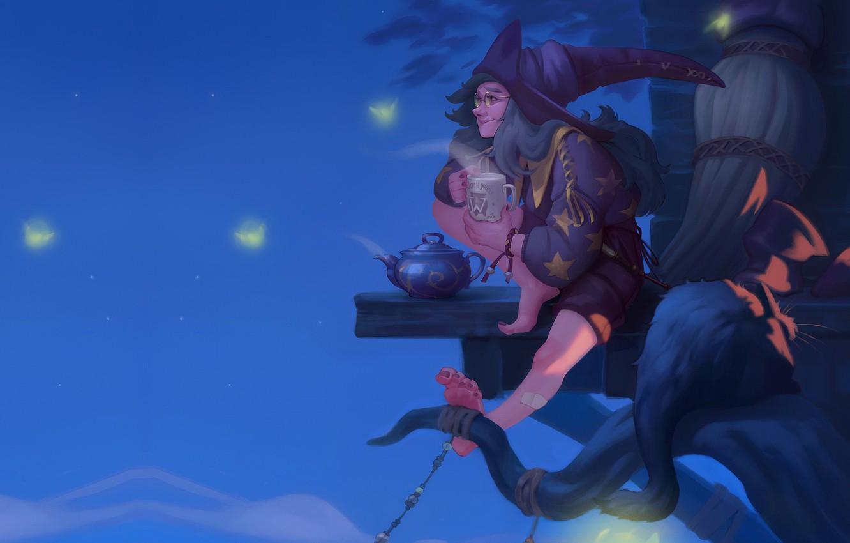 Photo wallpaper night, the tea party, vedbma, Ekaterina Shapovalova, art fantasy, Illustration for the Witch Artbook
