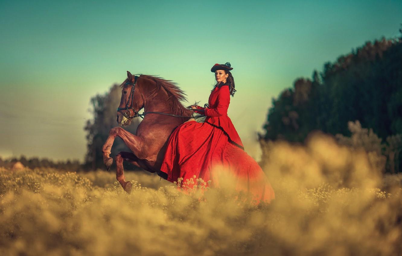 Photo wallpaper field, the sky, girl, horse, dress, brunette, Annie Of Antikov