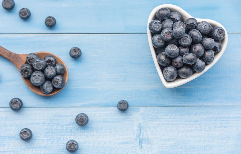 Photo wallpaper berries, blueberries, fresh, heart, wood, blueberry, blueberries, berries