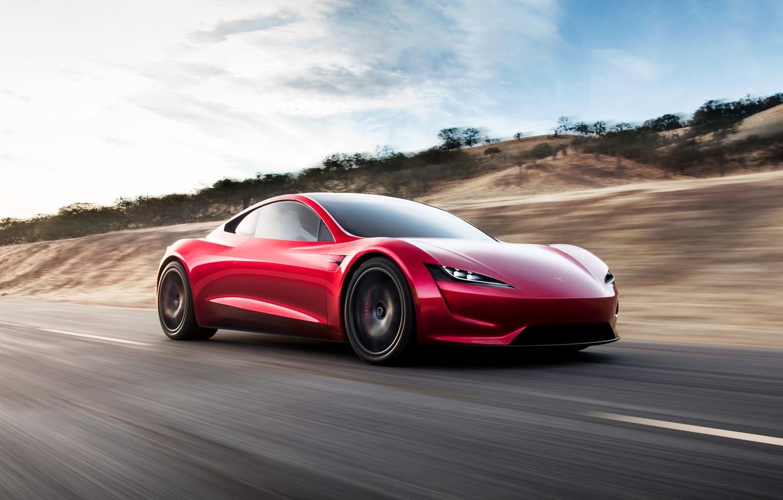 Photo wallpaper car, Roadster, future, red, Tesla, 2020, Tesla Roadst