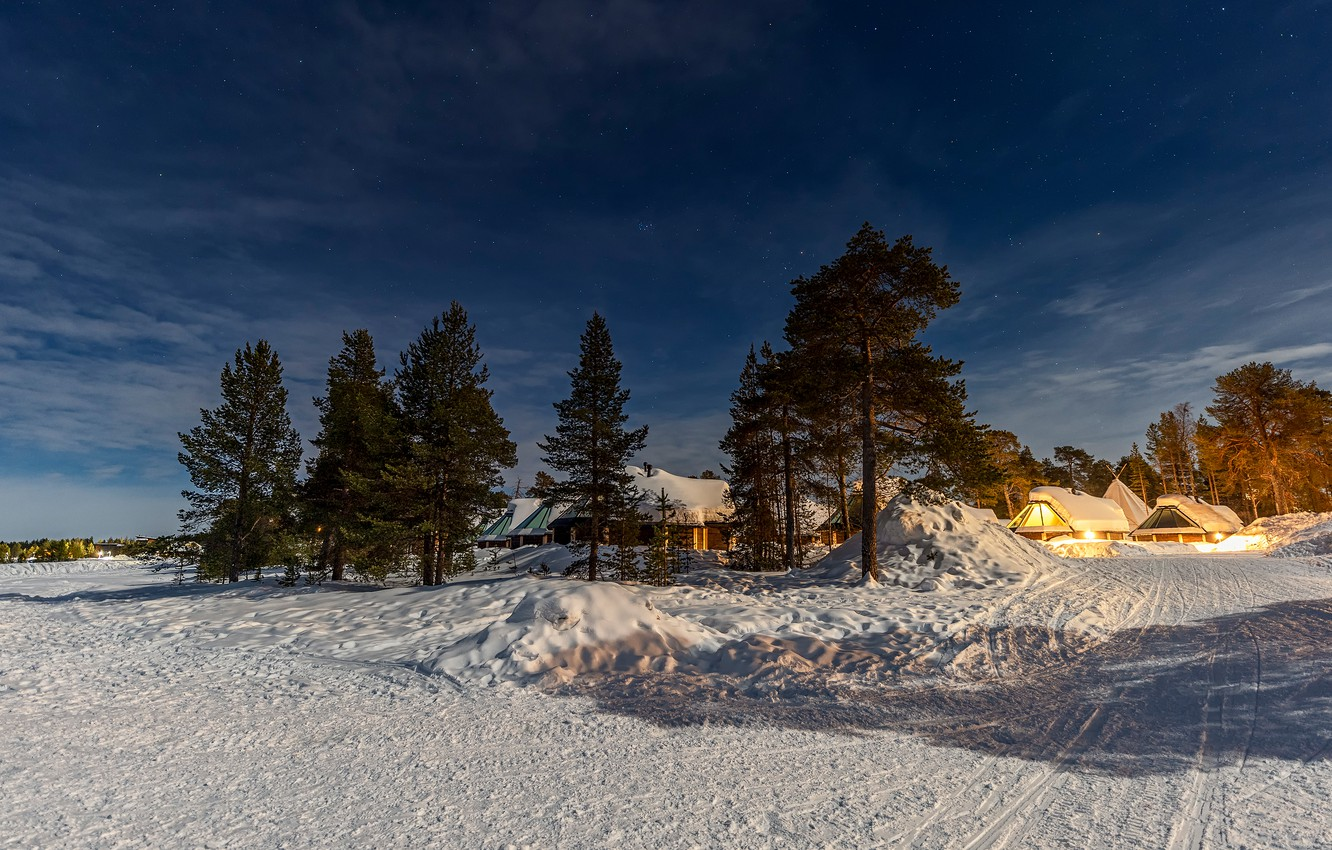Photo wallpaper winter, road, the sky, clouds, light, snow, trees, night, lights, village, the snow, shadows, houses, …