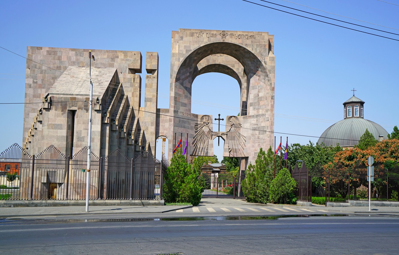 Photo wallpaper The fence, Gate, Temple, Armenia, Armavir