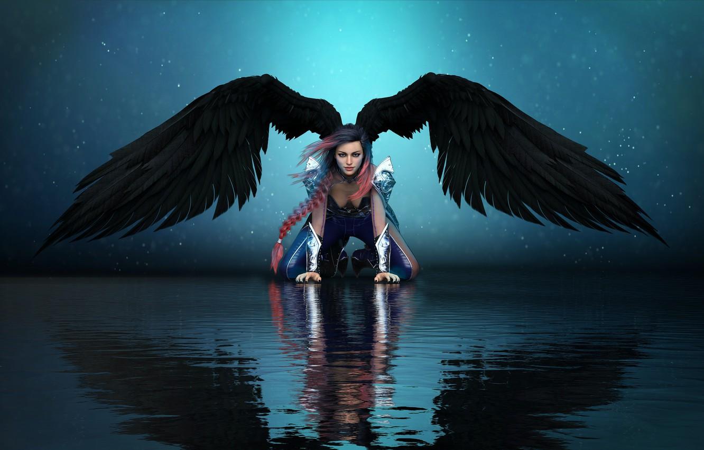 Photo wallpaper girl, fantasy, wings, angel, angel girl
