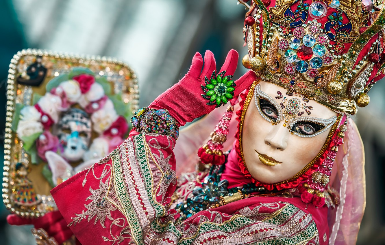 Photo wallpaper style, mask, Italy, costume, Venice, carnival