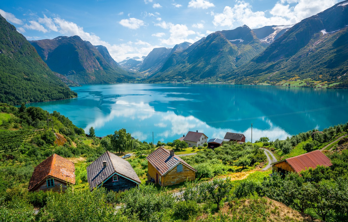 Photo wallpaper lake, Norway, houses, Sogn and Fjordane