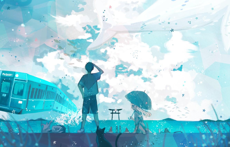 Photo wallpaper cat, the sky, water, girl, train, kit, guy, torii