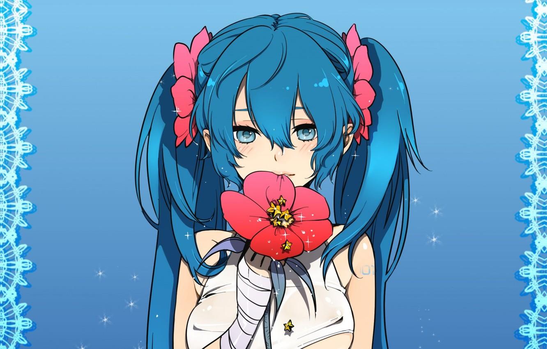 Photo wallpaper pattern, vocaloid, Hatsune Miku, stars, Vocaloid, blue hair, blue background, red flower, bit his lip