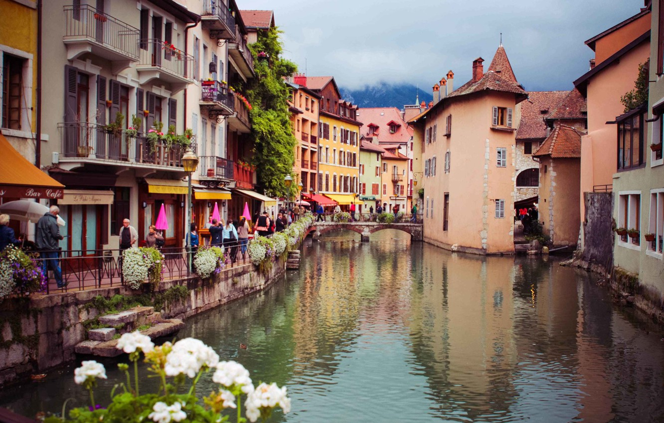 Photo wallpaper flowers, river, France, home, Alps, Annecy