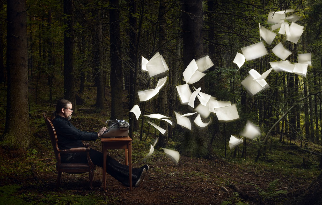 Photo wallpaper forest, people, leaves, creativity, typewriter