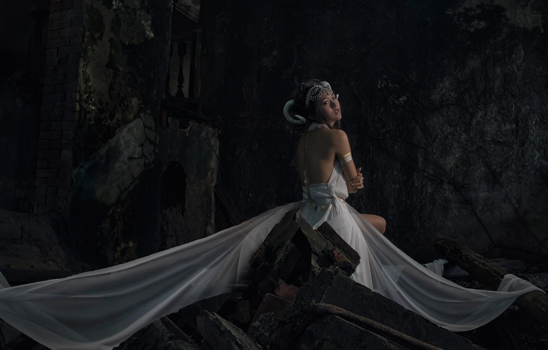 Photo wallpaper look, girl, face, darkness, the dark background, back, horns, ruins, Asian, white dress