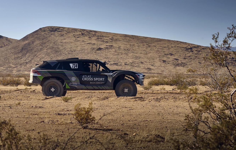 Photo wallpaper Volkswagen, silhouette, side, 4x4, 2019, Atlas Cross Sport R Concept