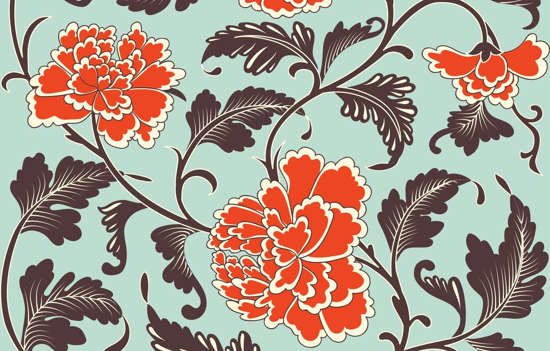 Photo wallpaper flowers, orange, grey, background, pattern, texture, Chinese