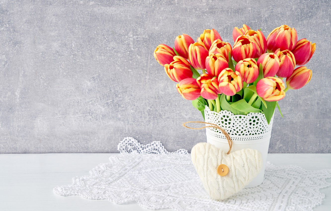 Photo wallpaper love, flowers, heart, bouquet, colorful, tulips, red, love, flowers, beautiful, romantic, tulips, valentine's day, spring