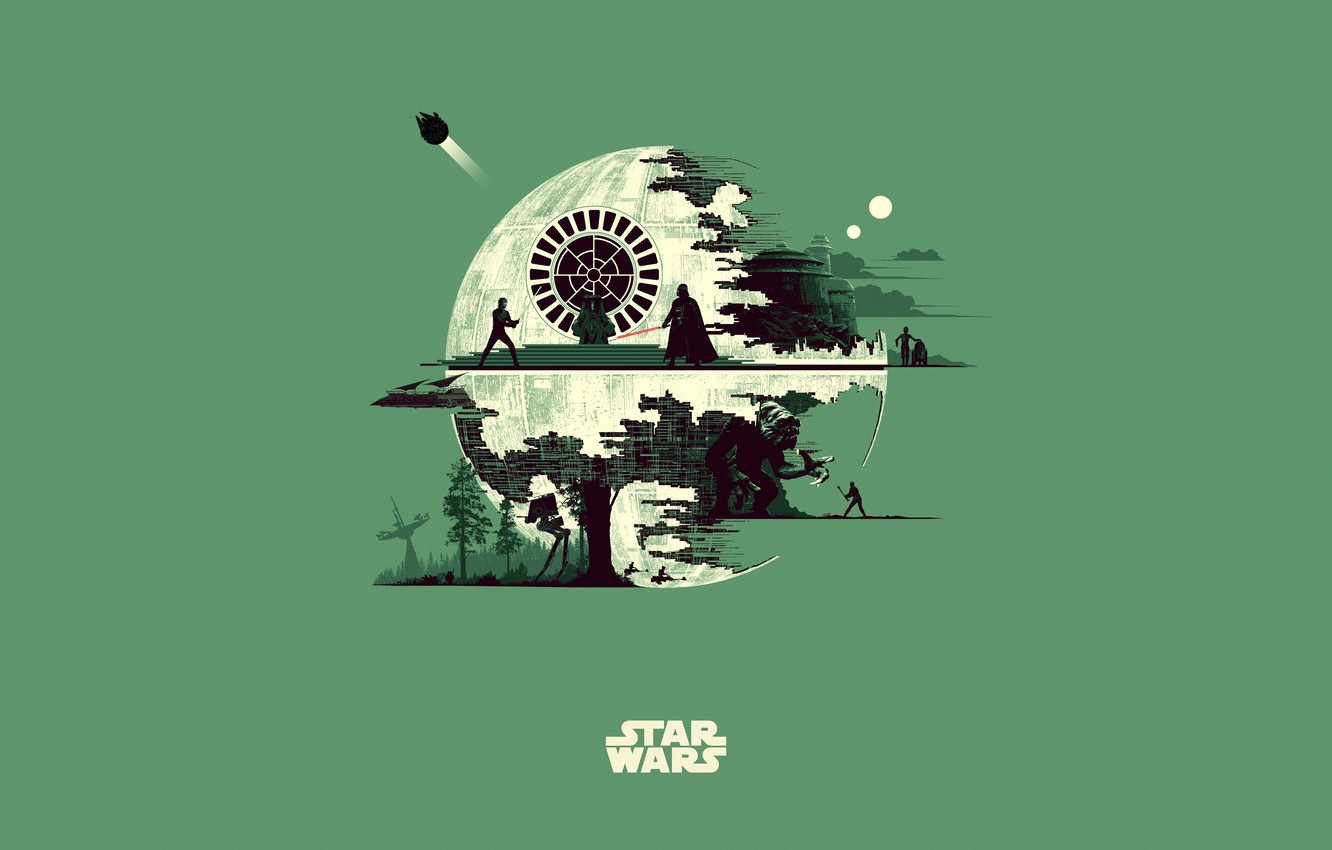 Photo wallpaper Minimalism, Star Wars, Star wars, Art, Art, Fiction, Fiction, Minimalism, Character, The Death Star, Characters, …