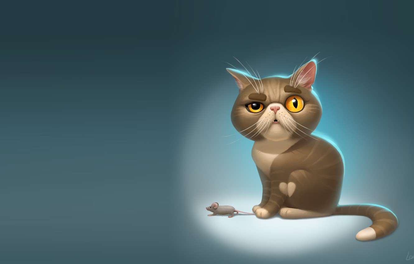 Photo wallpaper ART, MINIMALISM, CAT, MOOD, MOUSE, CHILDREN's, A catching, Elena Kostrova