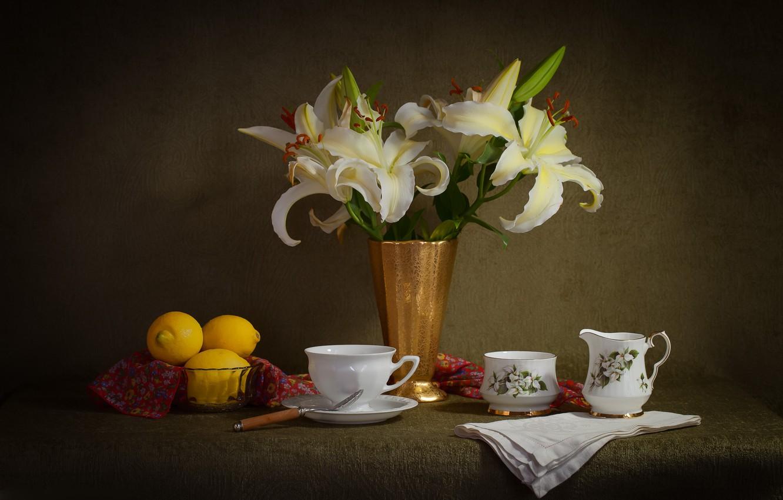 Photo wallpaper Lily, dishes, lemons