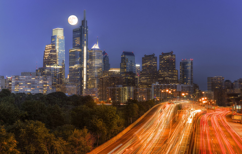 Photo wallpaper night, lights, Philadelphia, skyline, Pennsylvania, Philadelphia, moonlight traffic