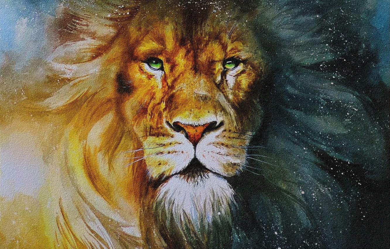 Photo wallpaper picture, watercolor, mane, cardboard, painting, LEO, light and shadow, artist Ekaterina ziuzina, proud look