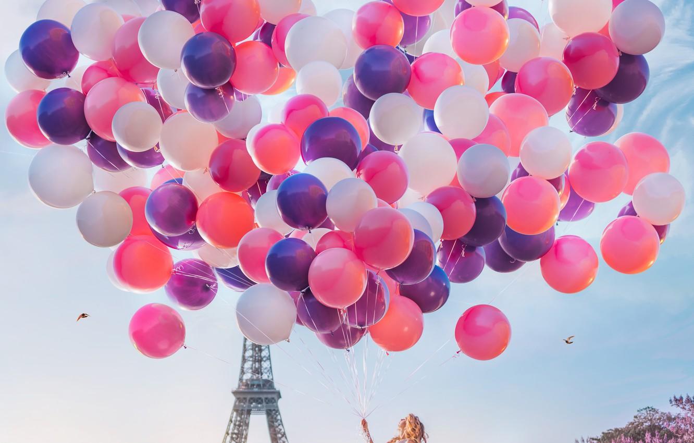 Photo wallpaper girl, balls, balloons, mood, France, Paris, dress, Eiffel tower, a lot, the parapet, Kristina Makeeva