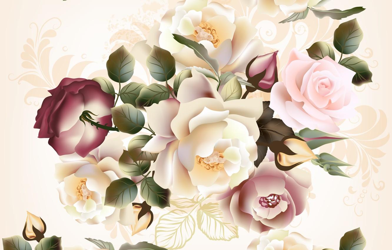 Photo wallpaper flowers, flowers, pattern, roses, beige background, seamless