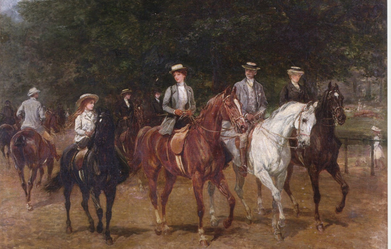 Photo wallpaper white, black, walk, brown, riders, girl on a horse, HHardy, riding