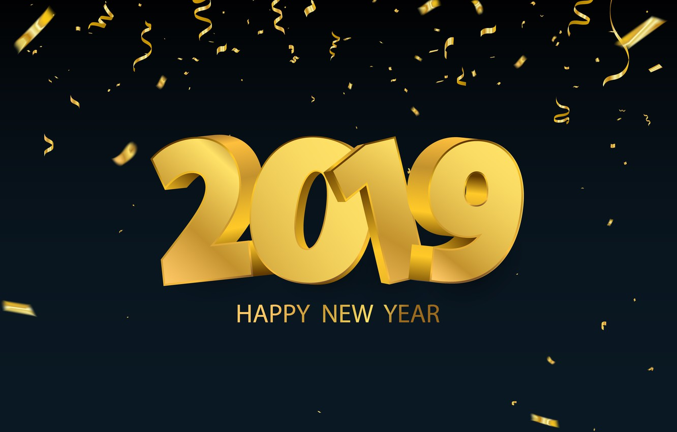 Photo wallpaper gold, New Year, figures, golden, black background, black, background, New Year, Happy, sparkle, 2019