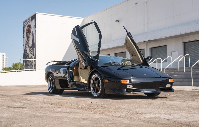 Photo wallpaper Black, Supercar, Italian Cars, Scissor doors, 1998 Lamborghini Diablo SV