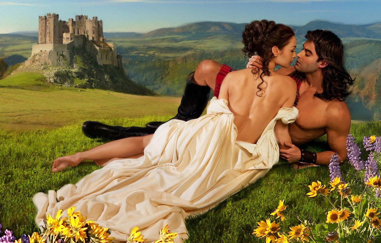 Photo wallpaper greens, chest, summer, look, girl, love, flowers, mountains, nature, pose, castle, mood, hills, feet, romance, …