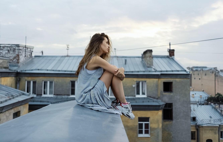 Photo wallpaper girl, legs, on the roof, Oleg Gritsun, Nick Antonenko