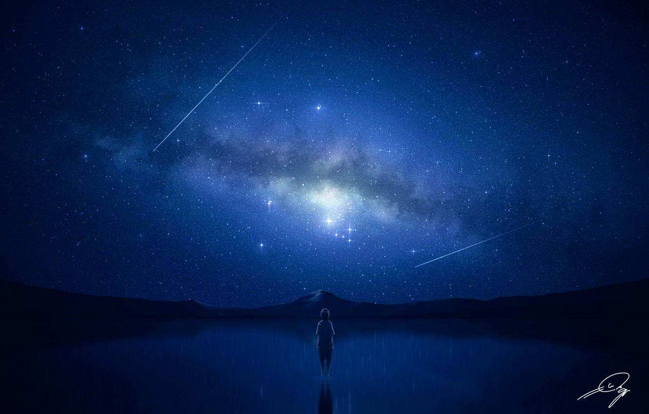 Wallpaper Night Lake Boy The Milky Way Shooting Star