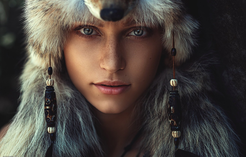 Photo wallpaper girl, portrait, freckles, Alex Noori