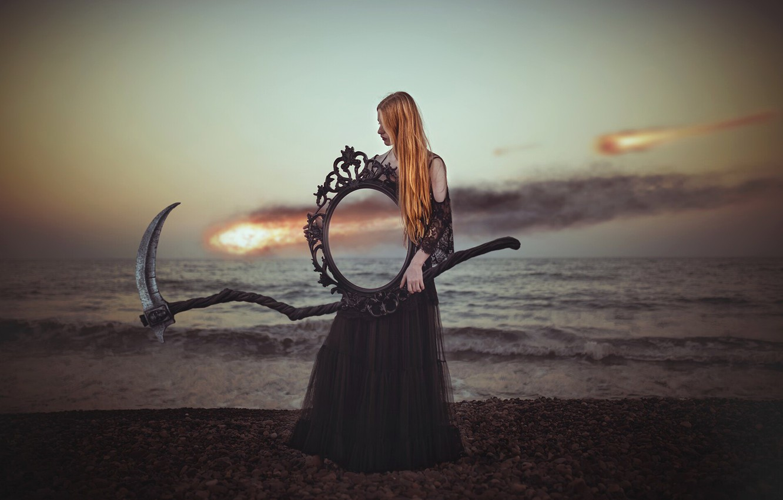Photo wallpaper girl, shore, mirror, braid