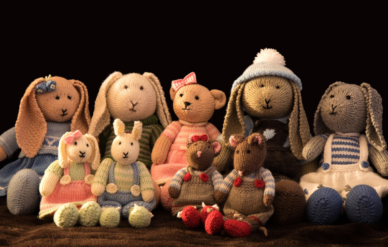 Photo wallpaper childhood, comfort, style, retro, clothing, toy, toys, mouse, dress, bear, costume, black background, Bunny, a …