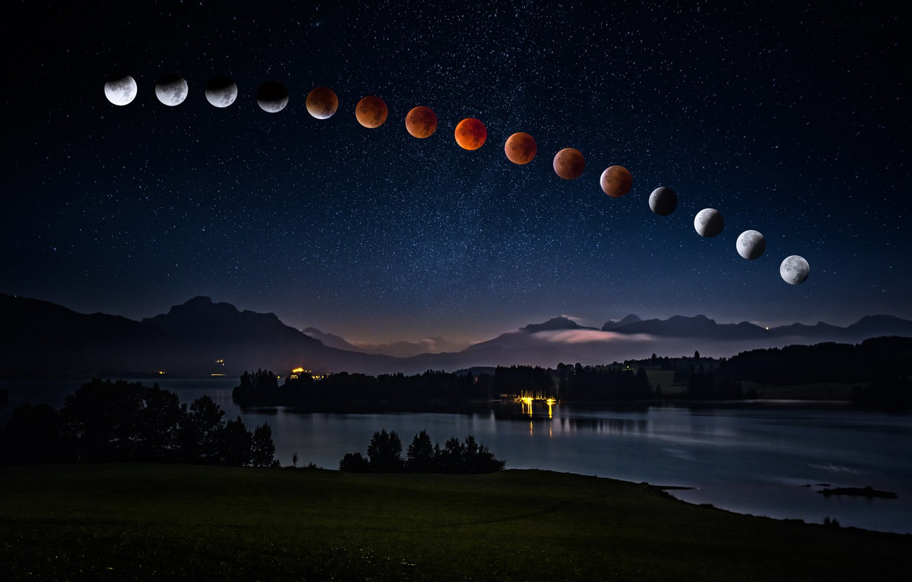 Photo wallpaper summer, the sky, space, stars, landscape, mountains, night, lights, darkness, the moon, shore, tops, haze, …