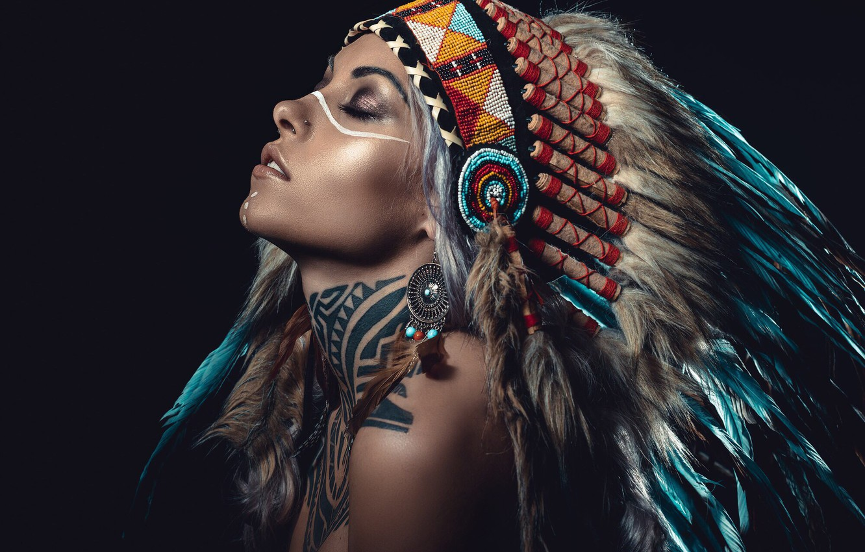 Photo wallpaper woman, feathers, tattoo, cosplay, American aborigine