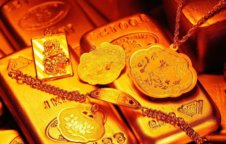 Photo wallpaper gold, money, slicci