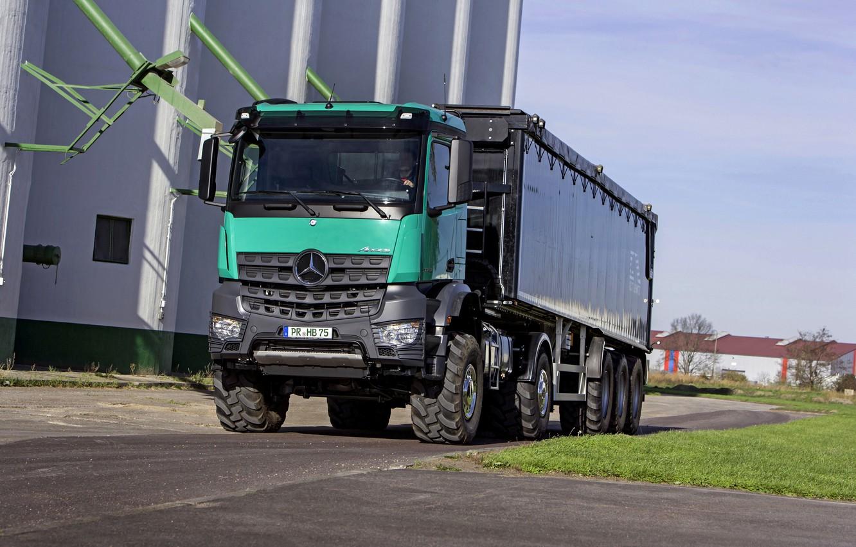Photo wallpaper Mercedes-Benz, truck, 4x4, tractor, Arocs, the trailer