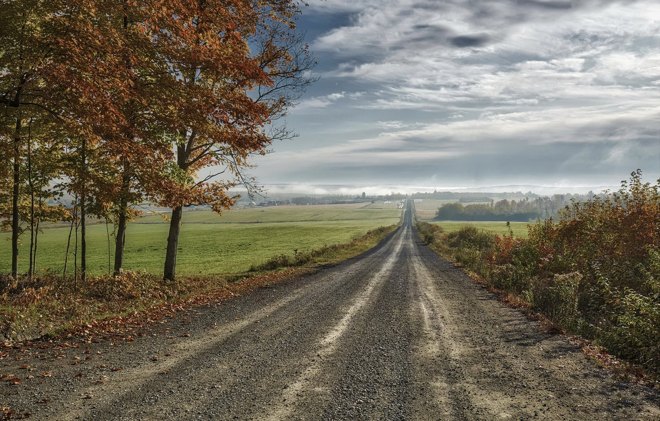 Photo wallpaper road, field, autumn, the sky, nature