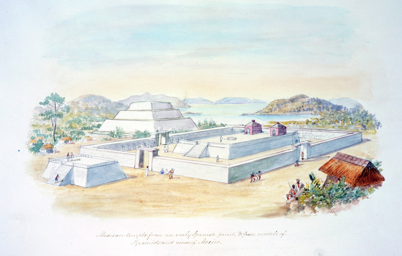 Photo wallpaper C.H.S Watercolors, from early Spanish, Mexican temple