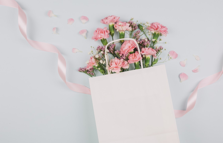 Photo wallpaper bouquet, tape, pink, clove, gypsophila, of limonium