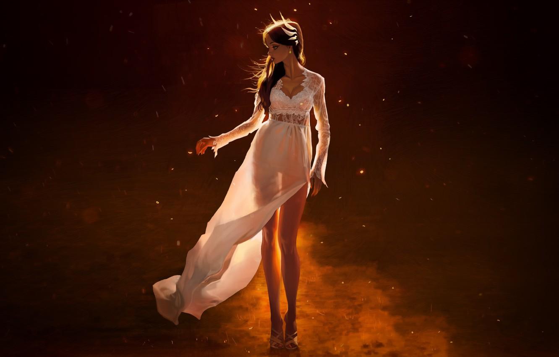 Photo wallpaper Girl, Figure, Dress, Art, Art, Beautiful, Illustration, by Wonbin Lee, Wonbin Lee