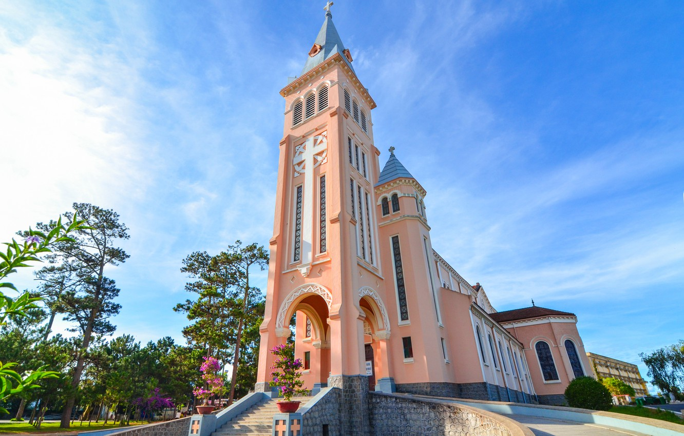 Photo wallpaper pink, church, religion