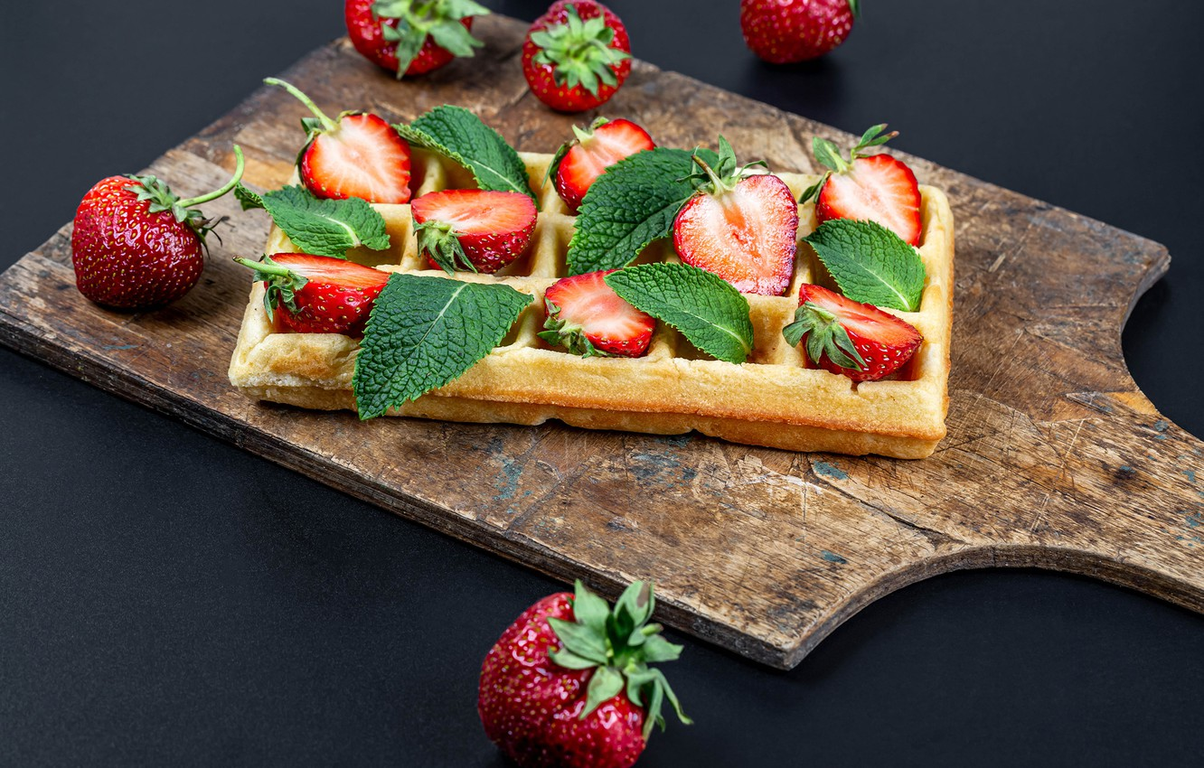 Photo wallpaper berries, strawberry, waffles, cakes, strawberry
