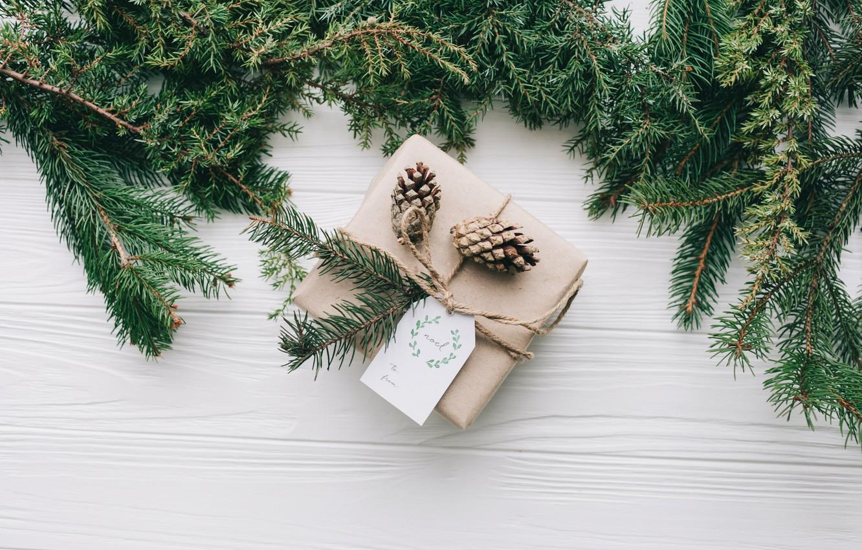 Photo wallpaper decoration, gift, New Year, Christmas, Christmas, wood, New Year, gift, decoration, Merry, fir tree, fir-tree …