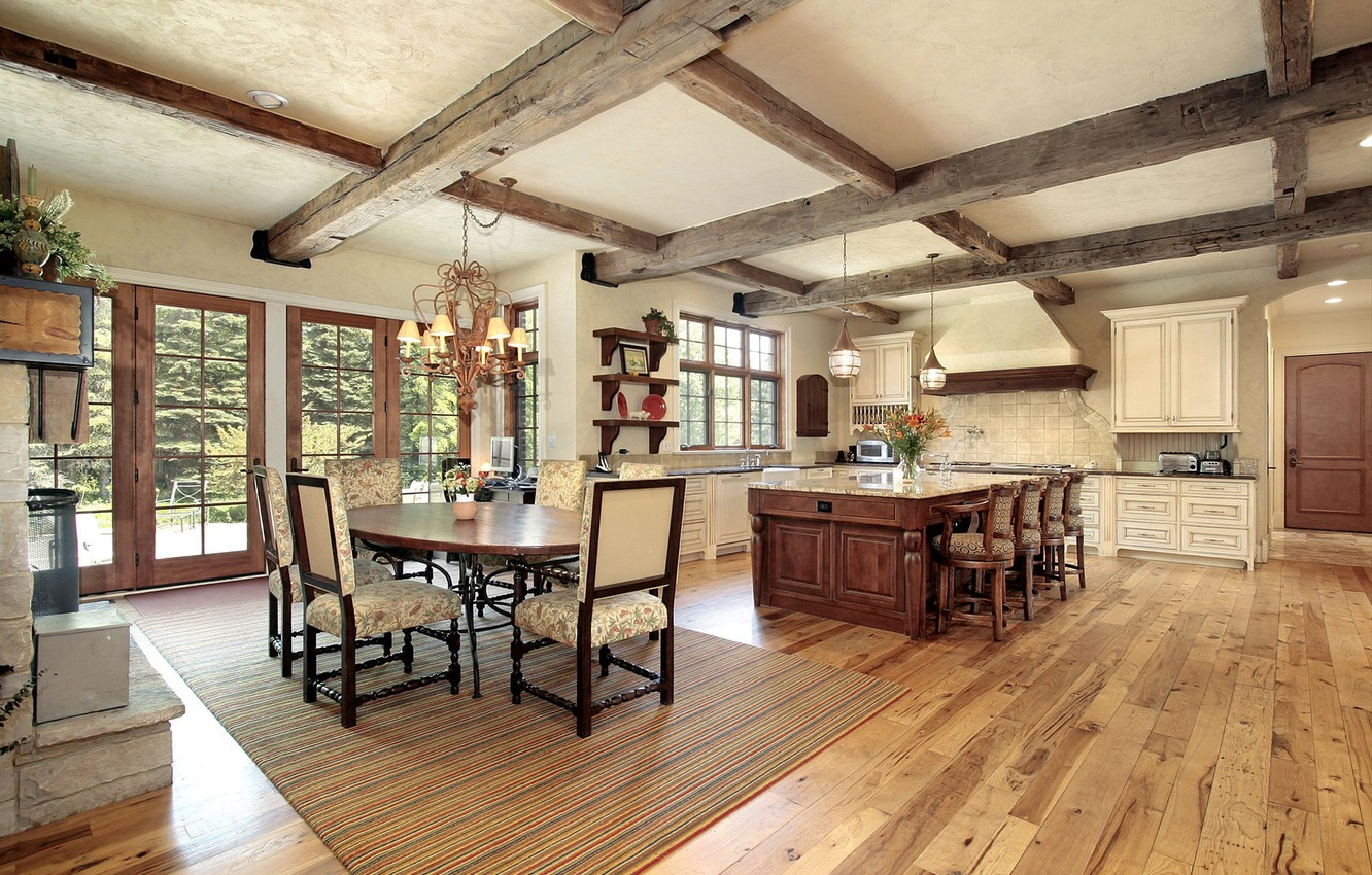 Wallpaper Interior Kitchen Dining Room Rustic Farmhouse Country Style Fermerski House Images For Desktop Section Interer Download
