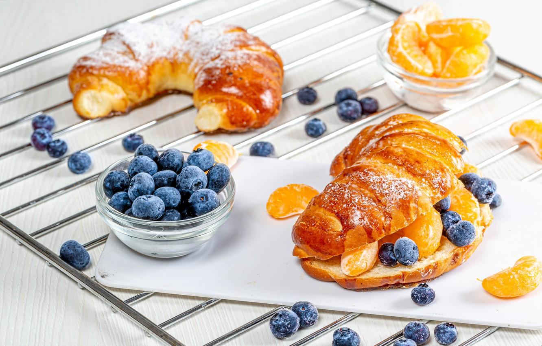 Photo wallpaper berries, slices, sandwich, blueberries, buns, tangerines