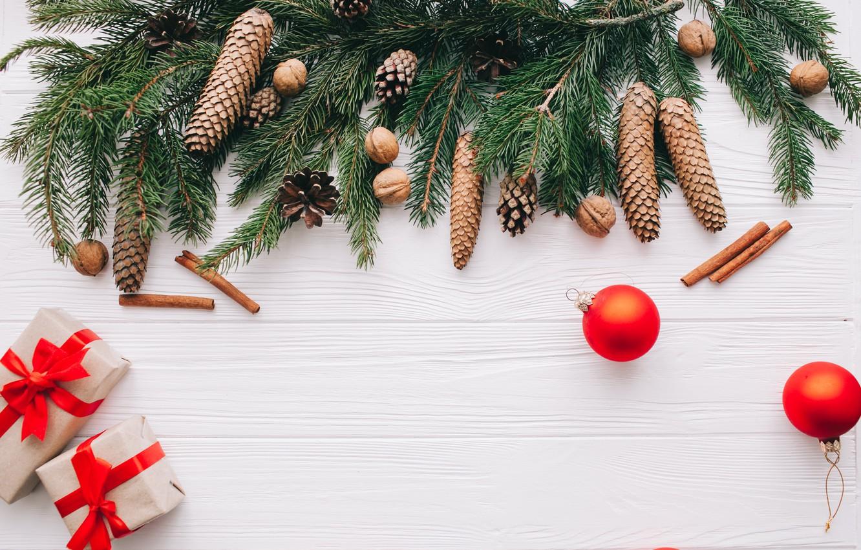 Photo wallpaper decoration, New Year, Christmas, gifts, Christmas, wood, New Year, decoration, gift box, Merry, fir tree, …