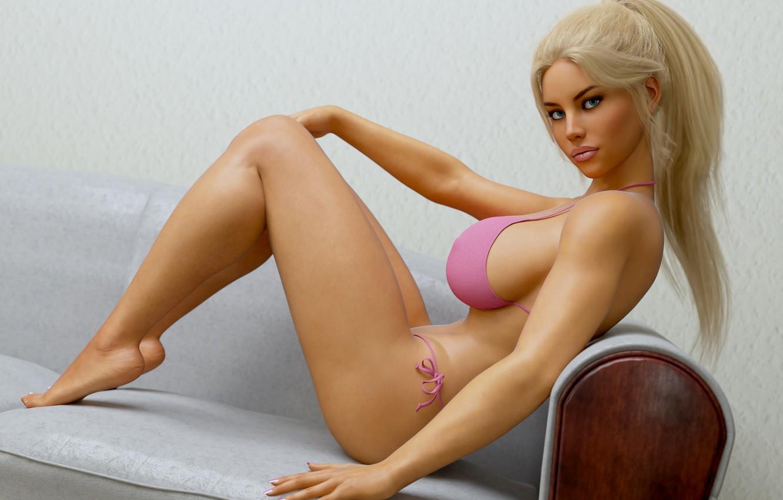 Photo wallpaper swimsuit, chest, pose, feet, hair, body, blonde, bikini
