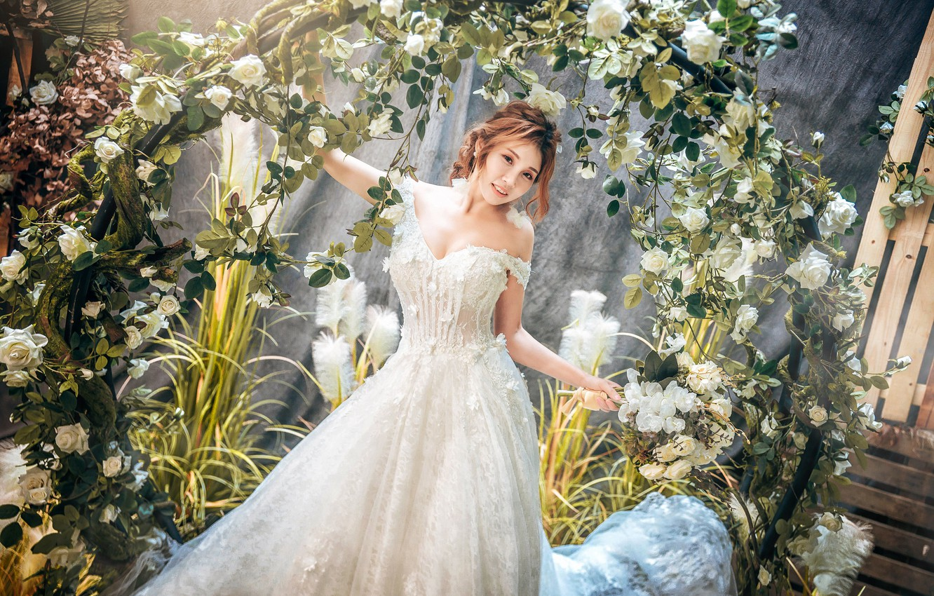Photo wallpaper look, flowers, pose, model, portrait, makeup, garden, dress, hairstyle, brown hair, Asian, is, in white